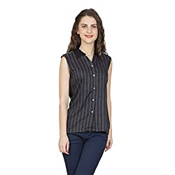 Desi Belle Casual Grey Printed Rayon Shirt