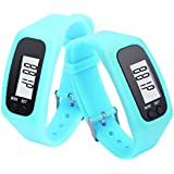 Sandistore Digital LCD Pedometer Walking Distance Calorie Counter Bracelet Fitness Tracker Watch Sky Blue