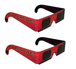 日食グラス メガネタイプ 2個セット★CE安全規格適合 (金環日食 日食めがね 日食メガネ 太陽メガネ)