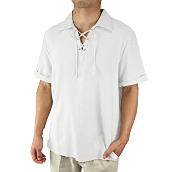 Cotton drawstring collar short sleeve beach shirt White