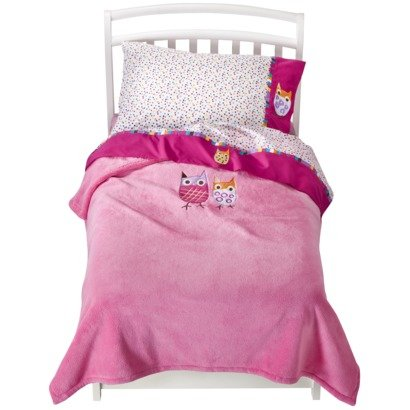Zutano Blue Owl Brights 4pc Toddler Bedding Set