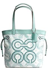 Coach Audrey Signature Leah Swirl Shopper Book Bag Purse Tote 17044 Blue Multi