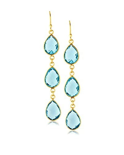 Saachi Blue Topaz Triple Drop Earrings As You See