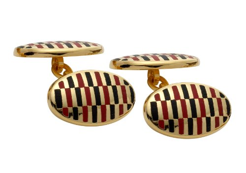 Code Red Gold Plated Cufflinks with Red and Black Enamel and Chain Link