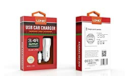 LDNIO Dual USB 3.4A Smart Auto ID Fast Car Charger for Android Mobiles- Samsung,HTC,Sony,Lenovo,Micromax