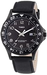 Timex Leather Mens Watch - Black