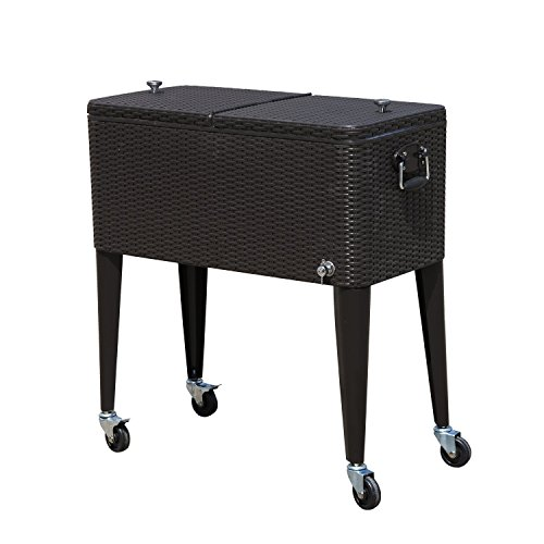 Tenive 80-quart Rolling Wheels Ice Chest Portable Patio Party Bar Drink Entertaining Outdoor Cooler Cart - Brown Wicker Pattern (Outdoor Patio Beverage Cart compare prices)