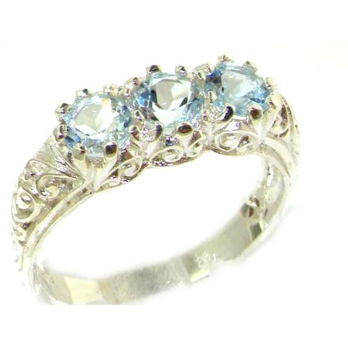 Luxury Solid Sterling Silver Natural Aquamarine Art Nouveau Carved Trilogy Ring - Size 12 - Finger Sizes 5 to 12 Available - Suitable as an Anniversary ring, Engagement ring, Eternity ring, or Promise ring
