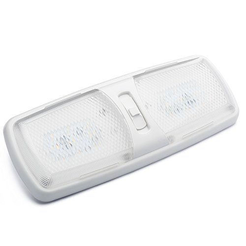 Lumitronics Designer Double LED RV Dome Light with 3-Way Switch and Removable Lenses. Perfect Interior Replacement 12V Lighting for RVs, Motorhomes, Campers, 5th Wheels, Trailers - NEW 2016 Model (Rv Light Fixture Lens compare prices)