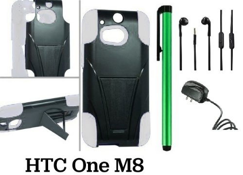Htc One (M8) Premium Pretty T-Stand Design Protector Hard Cover Case (2014 Q1 Released; Carrier: Verizon, At&T, T-Mobile, Sprint) + Travel (Wall) Charger + 3.5Mm Stereo Earphones + 1 Of New Assorted Color Metal Stylus Touch Screen Pen (White / Black)