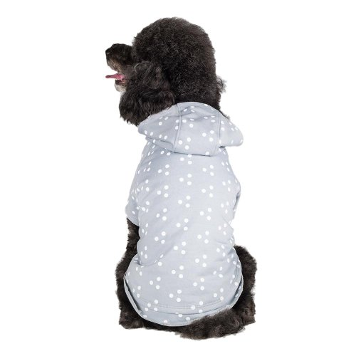 Blueberry Pet 10-Inch Polyester/Cotton Polka Dot Dog Hoodie, Small, Grey And White front-1013355