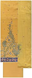 Gunjan Women's Cotton Unstitched Salwar Suit (Yellow)