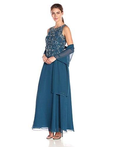 J Kara Women's Sleeveless All Over Beaded Top Long Dress