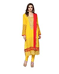 Yepme Women's Yellow Blended Semi Stitched Suit - YPMRTS0125_Free Size