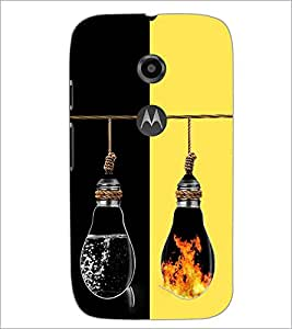 PrintDhaba water and Fire Bulbs D-2926 Back Case Cover for MOTOROLA MOTO E2 (Multi-Coloured)