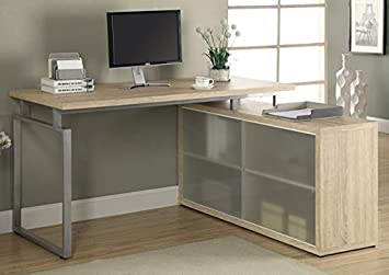 """NATURAL RECLAIMED-LOOK """"L"""" SHAPED DESK WITH FROSTED GLASS (SIZE: 60L X 48W X 31H)"""