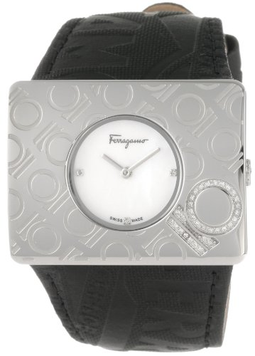 Ferragamo Women's F65LBQ9191 S009 Venna Steel Black Leather Watch
