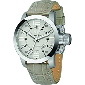 Metal CH 1132-47 Mens Initial Crocodile Print Leather Strap Watch