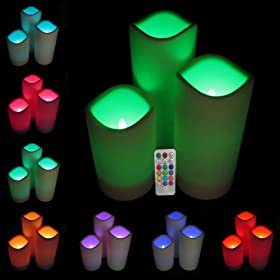 Set of 3 Outdoor Battery LED Mood Candles - Remote Control Included