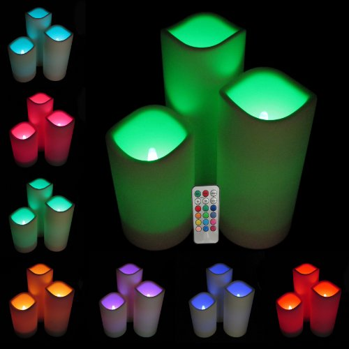 Set of 3 All Weather RGB Color Changing Mood Candles- with multi-function remote control