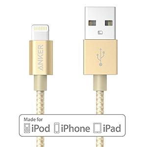 【Apple認証 (Made for iPhone取得)】 Anker 高耐久ナイロン ライトニングUSBケーブル iPhone / iPad / iPod用 絡み防止 アルミコンパクト端子 (ゴールド、0.9m)