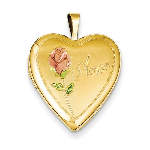 1/20 Gold Filled 20mm Enameled Rose Amor Heart Locket