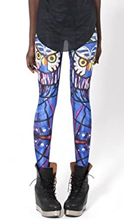 Sunnydate Women's New 2014 Fashion Seamless Printed Night Owl Leggings