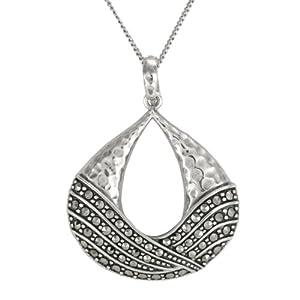 "Sterling Silver Marcasite Hammered Teardrop Pendant Necklace , 18"""