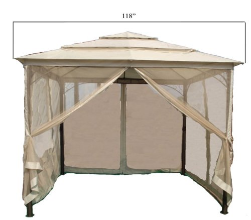 DC America LQGO19323MBR-BB 10-Foot by 10-Foot Three Tier Gazebo with Insect Screen, Dark Bronze, with Beige Polyester Top image