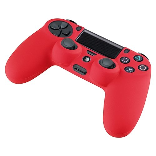 eForCity Red Silicone Skin Case with FREE Black Mono Headset with Microphone Compatible with Sony PlayStation 4 (PS4)