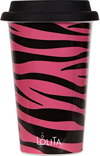 C.R. Gibson Lolita Double Wall Porcelain To-Go Coffee Cup, Pink Zebra