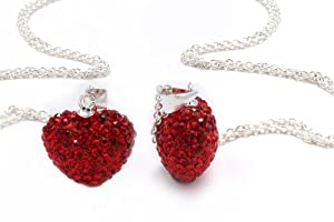 Authentic Ruby Color Heart Shape Crystals Pendant. Now At Our Lowest Price Ever but Only for a Limited Time! (Chain Not Included)