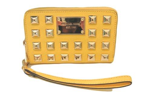 Michael Kors Citrus Pyramid Stud Leather Multifunction Phone Case