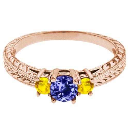 0.56 Ct Round Blue Tanzanite Yellow Sapphire 18K Rose Gold 3-Stone Ring