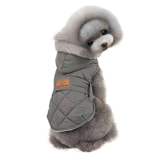 Kuoser Cute Fleece Lining Hoodie Dog Vest Winter Coat Warm Dog Apparel for Cold Weather Pet Clothes Dog Jacket for Small Medium dogs with belts ( S - 2XL ),Grey XL (Winter Jacket For Bulldog compare prices)