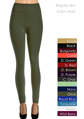 Solid Color Full Length Fleece Leggings For Regular Size And Plus Size (Olive, Fit Size (0-12/Xs-L)) front-87495