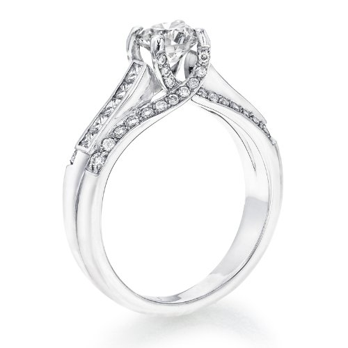 Diamond engagement ring in 14k gold white gia certified round 1 38