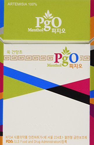 PgO Herbal Cigarettes - MENTHOL flavor: 100% Artemisia - no tobacco, no nicotine, no chemicals, all natural one pack (20 sticks)