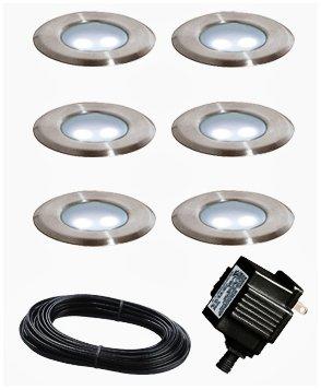 Portman Set Of 6 Low Voltage Stainless Steel Led Deck Lights