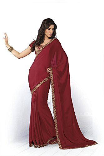 Subhash Sarees Red Satin Chiffon Heropanti Saree