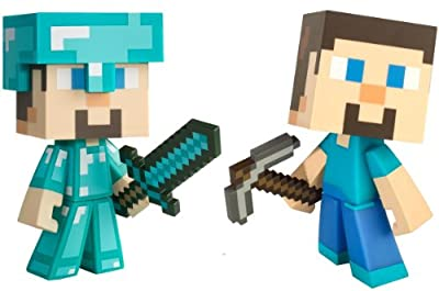 Minecraft Exclusive Diamond Steve Regular Steve 6 Vinyl Toy Figure Set Of 2 Official Product From Mojang by MOJANG