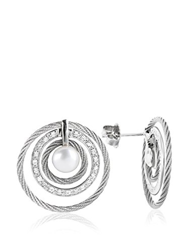 Charriol Women's Classique 18K White Gold, Stainless Steel, Diamond & Cultured Pearl Earrings