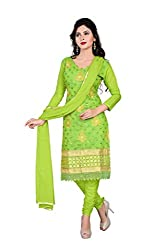 Indianbeauty Green Chanderi Straight Unstiched Salwar Suit Dress Material