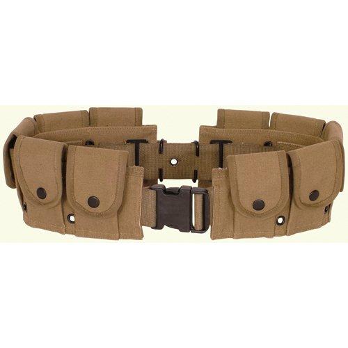 Ultimate Arms Gear Tactical Khaki Tan 10 Pocket Utility Pouch Cartridge Ammo Tool Heavy Duty Cotton Canvas Belt