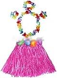 HuaYang - Falda hawaiana para disfraz infantil con pulsera, diseño de flores, color rosa