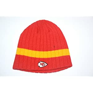 NFL Kansas City Chiefs Ribbed Single Striped Beanie Hat Ski Skull Cap Lid Toque