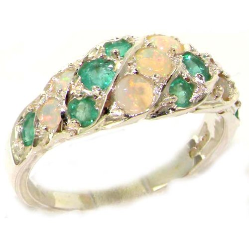 Luxury Ladies Solid Sterling Silver Natural Fiery Opal & Emerald Band Ring - Size K - Finger Sizes K to Z Available - Suitable as a childs teenager girls ring