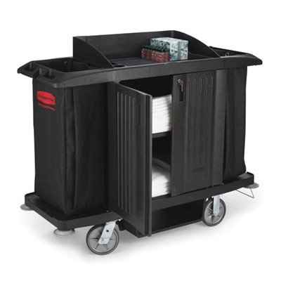 Rubbermaid Black Full Size Housekeeping Cart With Door 60 X 22 X 50 (Rcp6191Bla) Category: Utility Carts front-521233