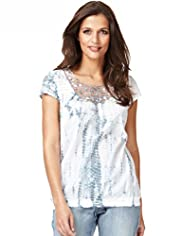 Indigo Collection Pure Cotton Tie Dye Lace Insert Top
