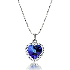 BUYINHOUSE Blue Heart of Ocean Titanic Crystal Necklace Pendant with Chain Perfect Gift